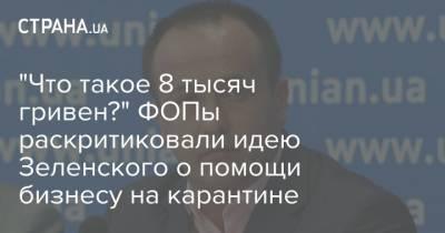 """""""Что такое 8 тысяч гривен?"""" ФОПы раскритиковали идею Зеленского о помощи бизнесу на карантине"""